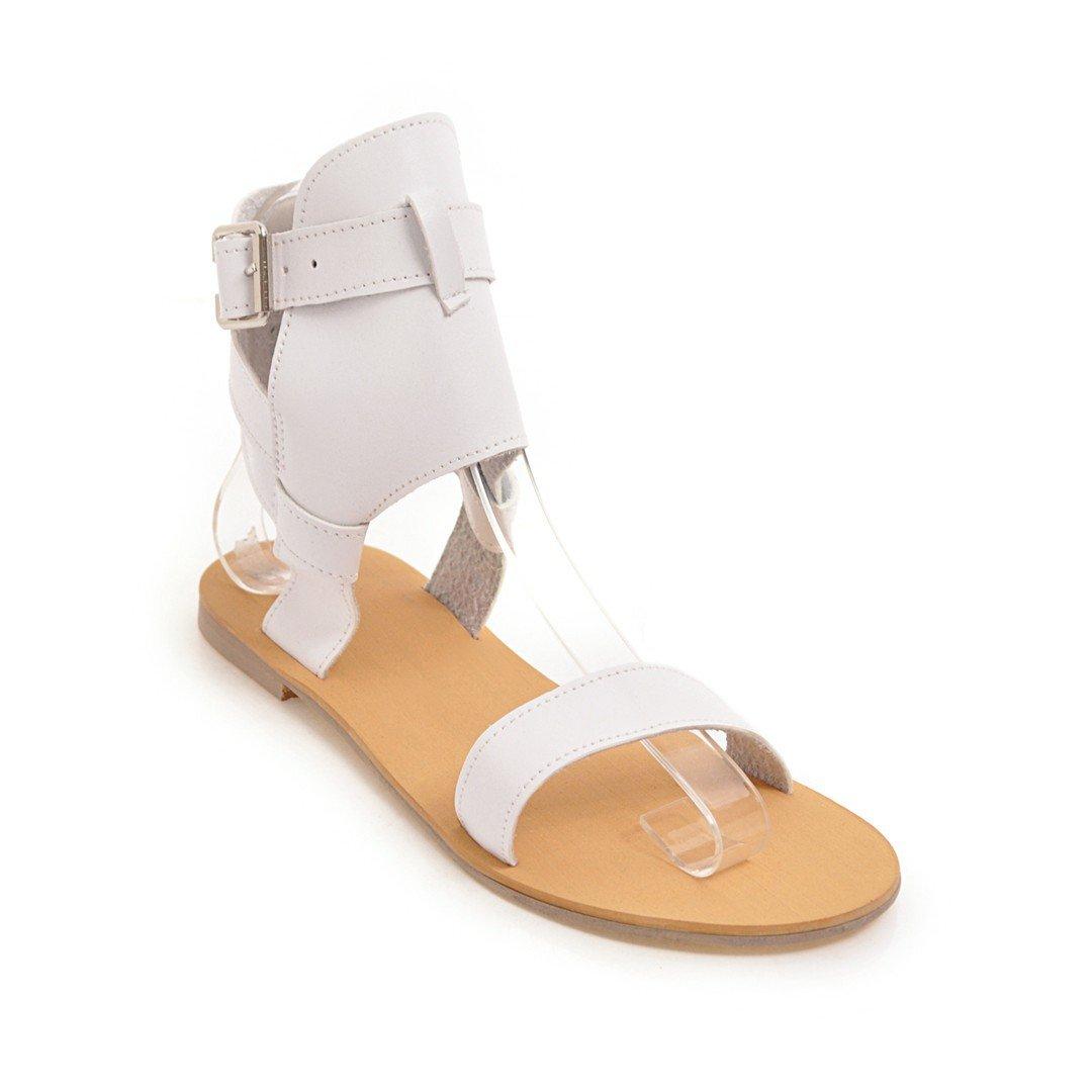 Unbekannt Damen Sommer Sandalen Open Toe Flachbild Böhmen Komfortablen zwanglosen Wild Weiß 41