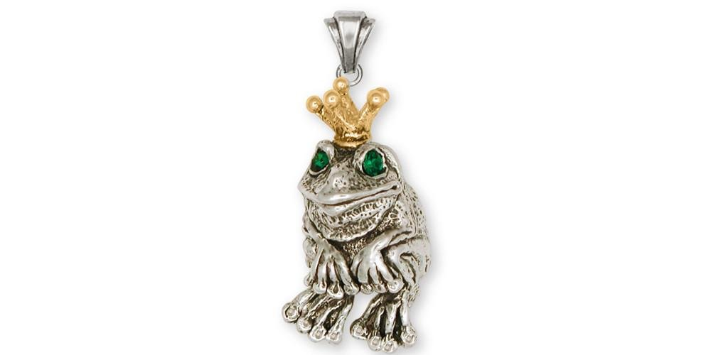 Frog Jewelry Silver And Gold Frog Pendant Handmade Frog Jewelry FG14-TTP
