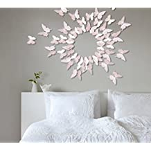 Extsud® 12 Pieces 3D Art Butterfly Wall Decal Wall Stickers Home Decor Room Decoration with Central Crystal Paste Decor for Living room, Nursery, Doors, Window, Bathroom, Fridge, Baby, Kids (Pink)