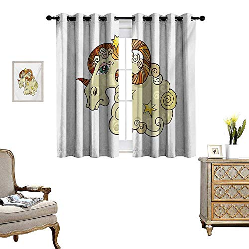 Zodiac Aries Patterned Drape for Glass Door Cartoon Comic Style Ram Animal Fluffy Funny Cosmic Character with Yellow Stars Waterproof Window Curtain W63 x L63 Multicolor