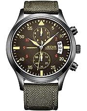 JEDIR Men Chronograph Minimalist Quartz Analog Watch with Date Window Numbers Case Brown Leather Strap