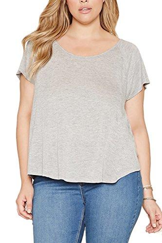 Mujeres camiseta de manga corta blusa Casual tallas grandes Grey