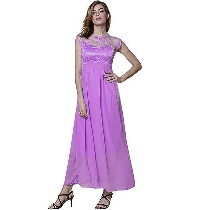 Amazon.com  AIMTOPPY Women Fashion Sleeveless Lace Chiffon Round ... a4514171a