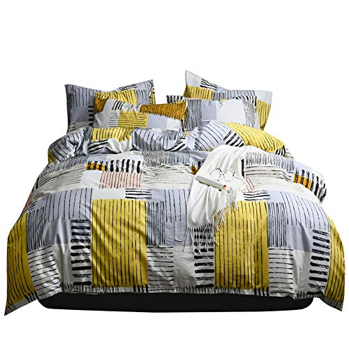 Soft Geometric Queen Duvet Cover Set 3 Piece 100 Percent Natural Cotton Plaid Striped Bedding Set Full Grey Yellow Comforter Cover for Boys Men Lightweight Breathable and Comfortable (No Comforter)