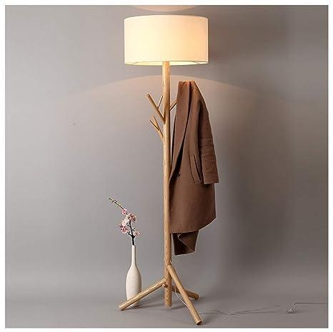 YliJkeT Lámparas de pie Lámpara de pie, árbol de Madera ...