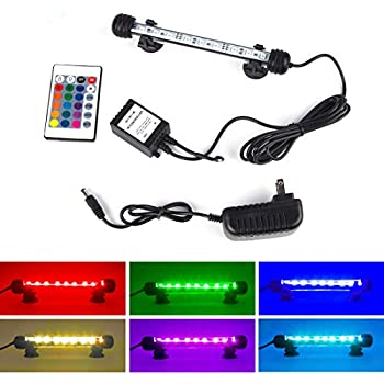 S SMIFUL Aquarium Light Fish Tank LED Lights Submersible Underwater Colorful Strip for Background Decorations Glofish Plants Black Lighting, 7.5