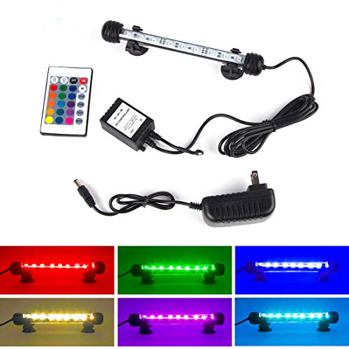 Lighting Blue Aquarium - S SMIFUL Aquarium Light Fish Tank LED Lights Submersible Underwater Colorful Strip for Background Decorations Glofish Plants Black Lighting, 7.5
