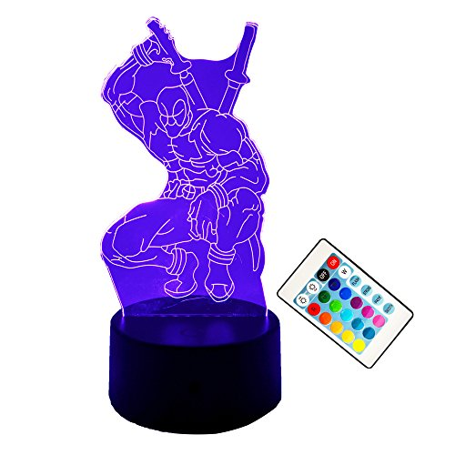 Amroe Fashion LED Toys 3D Illusion Lamp Marvel Anti-hero Deadpool Figure Night Light Touch Color Changing Mood Novelty Lamp