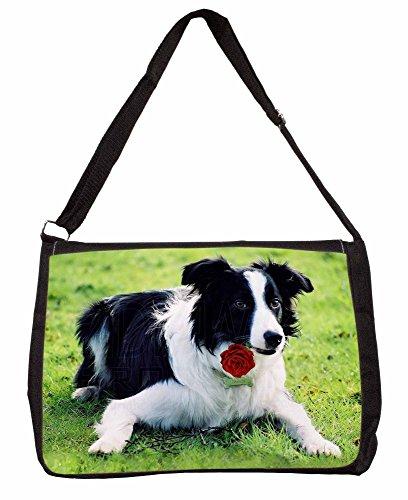 Border Collie Dog with Red Rose Large 16 Black School Laptop Shoulder Bag