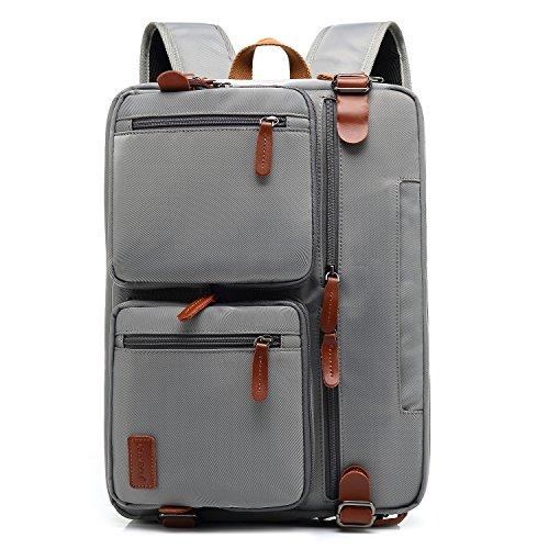 CoolBELL Convertible Backpack Messenger Bag Shoulder bag Laptop Case Handbag Business Briefcase Multi-functional Travel Rucksack Fits 15.6 Inch Laptop For Men/Women (Pure Grey) by CoolBELL (Image #5)