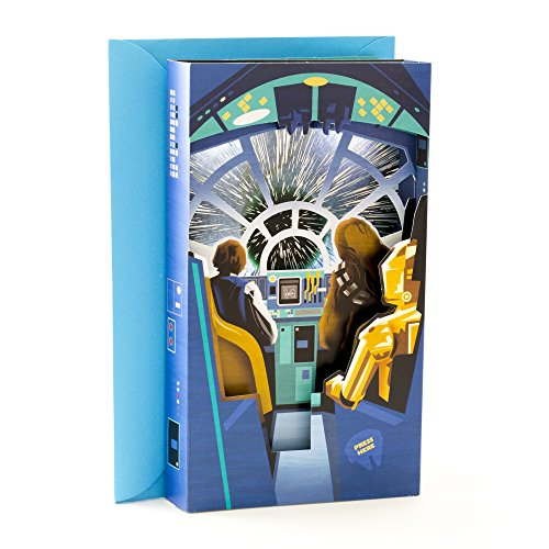 Hallmark Father's Day Greeting Card With Song and Light (Han Solo and Chewie 3D Shadowbox, Plays Star Wars Main Theme by John Williams)