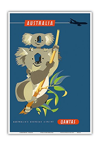 Australia - Koala Bears - Qantas Empire Airways (QEA) - Vintage Airline Travel Poster by Harry Rogers c.1960s - Master Art Print - 13in x 19in