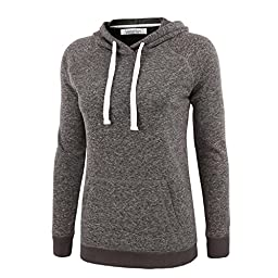 Vetemin Women Casual Basic Cotton/Poly Vintage Soft Long Sleeve Hoodies Sweater Charcoal Melange M