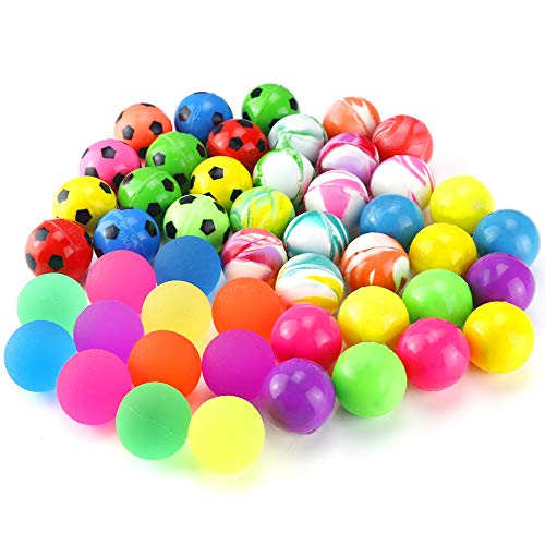 Pllieay 48 Pieces 4 Style 25mm Bouncy Balls Bulk Set Include Mixed Colour Ball Series, Neon Ball Series, Football Series and Smiley Ball Series for Party Bag Fillers -