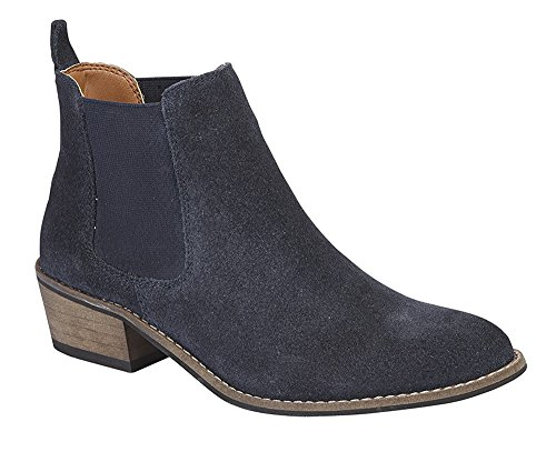 Navy Ankle Boot Gusset Women's New Twin Real Navy Suede qW5Wpw7C