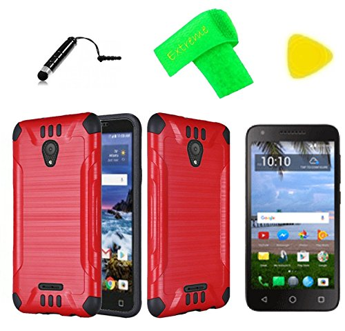 Brush Hybrid Cover Phone Case + Screen Protector + Extreme Band + Stylus Pen + Pry Tool For Alcatel Raven LTE A574BL (Brush Red ()