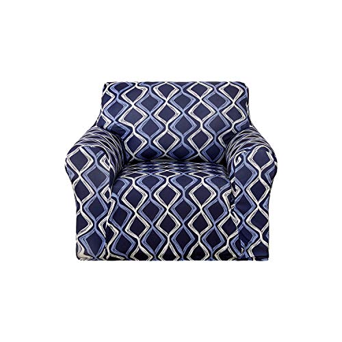 Deconovo Trellis Print Armchair Slipcover Fitted Spandex Stretch Strapless Sofa Cover for Living Room Navy Blue