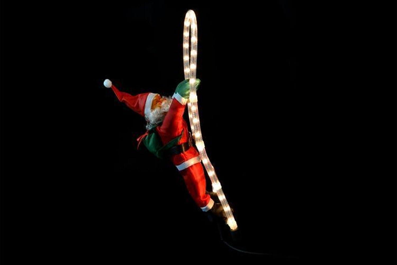 LD Navidad Papá Noel en escalera de Santa Claus de Papá Noel decorativa de Navidad figura decorativa: Amazon.es: Jardín