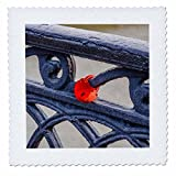 3dRose Alexis Photography - Objects - Grunge black painted metal railing, red wedding padlock - 12x12 inch quilt square (qs_270279_4)