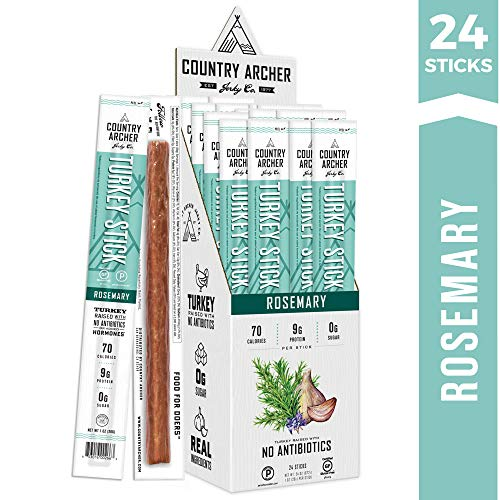 Rosemary Turkey Sticks by Country Archer | Antibiotic Free | Certified Keto, Paleo, Gluten Free | 24 Count