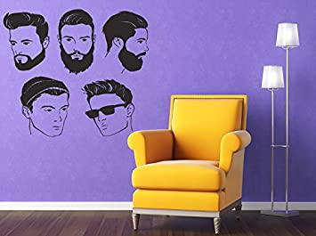 Wall Window Decal Sticker Barber Shop Man Salon Haircut Beard Face Tools Logo Salon 847b