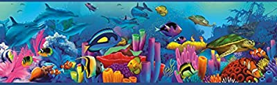 Chesapeake TOT46351B Down Under Blue Neptune's Garden Portrait Wallpaper Border
