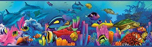 Chesapeake TOT46351B Down Under Blue Neptune's Garden Portrait Wallpaper ()