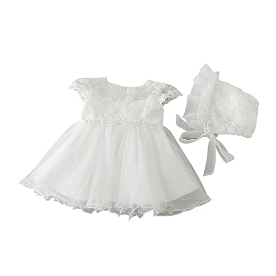 ZAMME Baby Girl Christening Baptism Gowns Flower Toddler Girl Dress ...