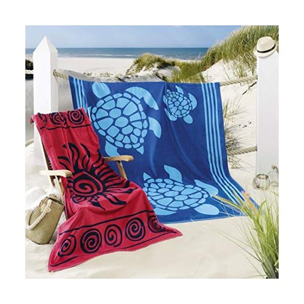 Delindo Lifestyle® Telo mare TROPICALE SOLE ROSSO, 100% coton, fatto di cotone egiziano di alta qualità, 100x180 cm… 3 spesavip
