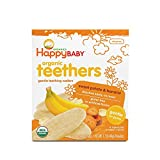Happy Baby Gentle Teethers Organic Teething Wafers Banana Sweet Potato, 12 Count Box (Pack of 6) Soothing Rice Cookies for Teething Babies Dissolves Easily Organic Gluten Free No Artificial Flavor