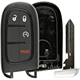 KeylessOption Keyless Entry Remote Smart Key Fob Shell Case Button Pad Cover For Ram, Jeep Cherokee GQ4-54T