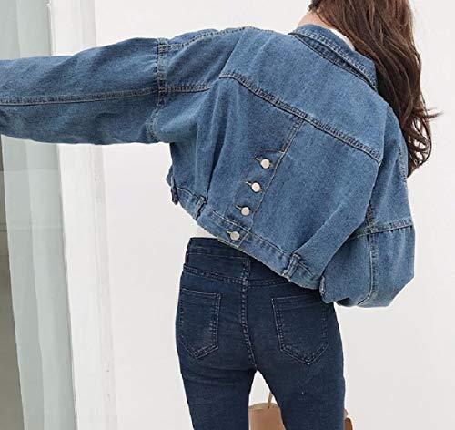 Blue Turn Down Jacket Sleeve Dark XINHEO Short Womens Collar Solid Denim Long Pocket Outwear WABOqgw