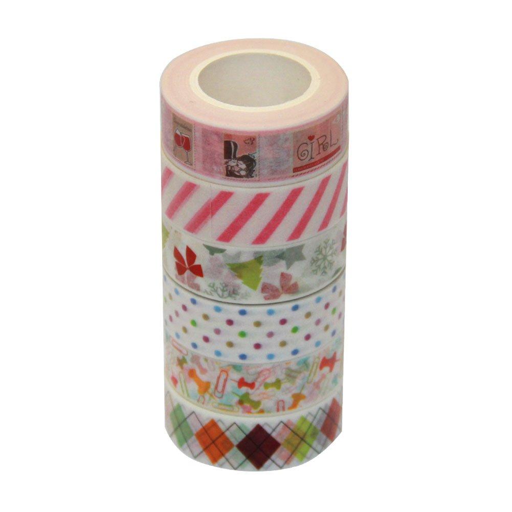 Ewparts 6 Rollos Sticky Adhesive Masking Tape Cinta Decorativa Washi, con dispensador / cortador de cinta Well Washi (Group 2): Amazon.es: Electrónica