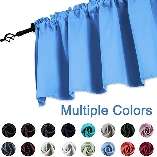 New Window Valance - KEQIAOSUOCAI Blue Kitchen Valance Curtains-Blackout Window Treatments for Boys Bedroom Rod Pocket 52 inches Wide by 18 inches Long, 1 Panel,Little Boy Blue Valance