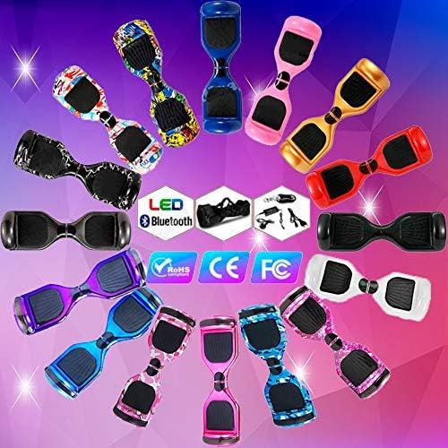 Magic Vida Skateboard Électrique 6.5 Pouces Bluetooth Puissance 700W avec Deux Barres LED Gyropode Auto-Équilibrage de Bonne qualité pour Enfants et Adult(Graffiti)