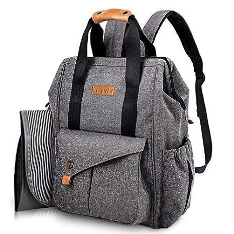 Mochila para cambiar pañales para bebés, mochila grande para pañales con 3 bolsillos aislados para