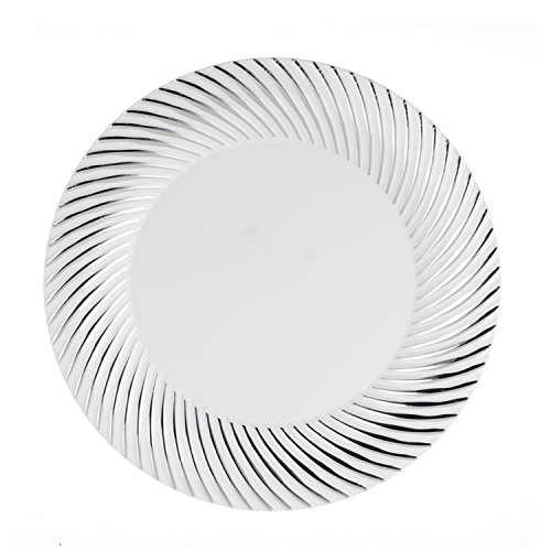 Swirl White Salad Plate - Party Essentials 70 Count Hard Plastic 7