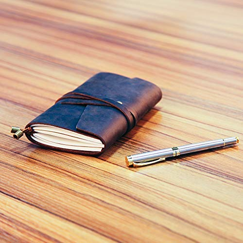 LEATHER JOURNAL Writing Notebook,Refillable Handmade Traveler's Notebook,Antique Leather Diary for Men & Women,Perfect to write in, Travel Journal, Small Leather Notebook with Pen,Black by COMESONG (Image #4)