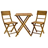 Exaco Trading Company FM Bistro Balcony Furniture Set Table and 2 Folding Chairs