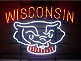 Brand New Hand-made Wisconsin Badgers Bucky Badger Pub Display Real Glass Neon Sign Beer Bar Light Neon Handicrafted Real Glass Tube17x14