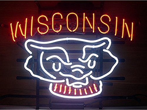 (Brand New Hand-made Wisconsin Badgers Bucky Badger Pub Display Real Glass Neon Sign Beer Bar Light Handcraft19x15!!!Best Offer!)