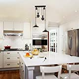 Happybuy Pendant Light 19.7'' Dia x 36.3'' H Vintage Industrial Hanging Pulley Pendant Lights 39'' Adjustable Cable Retractable Ceiling Lamps