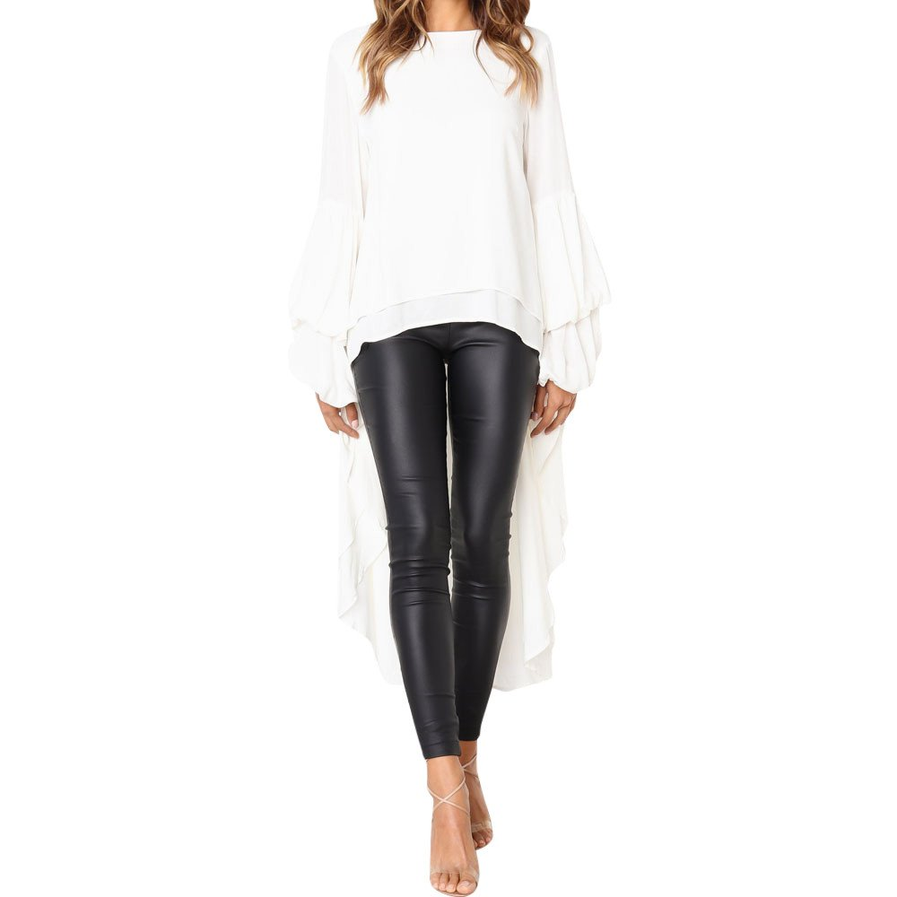 iOPQO Tops for Women, Irregular Shirt Long Sleeve Sweatshirt Pullover Blouse