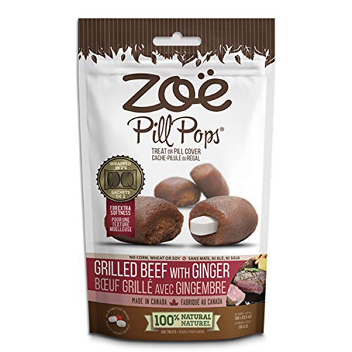 Zoe Pill Pops for Pets, Healthy All Natural Dog Treats for Giving Medication, Grilled Beef with Ginger