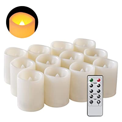 DRomance Flameless Flickering LED Votive Candles with Remote and Timer, Battery Operated Tealights Battery Included, Amber Yellow Light 1.5 x 2 inch Set of 12 for Christmas Decoration: Home Improvement