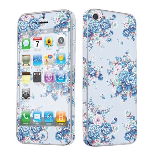 Apple iPhone 5 Full Body Vinyl Decal Protection Sticker Skin Blue Floral By Skinguardz