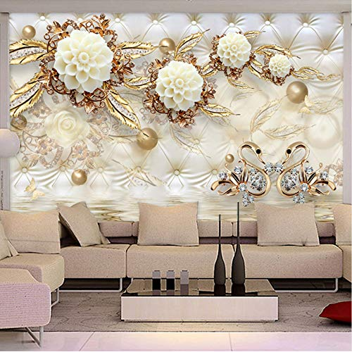 Mznm European Style 3D Luxury Wallpaper Golden Flowers Soft Ball Jewelry Backdrop Wall Photo Mural Living Room Hotel Bedroom 3D Decor-120X100Cm by Mznm (Image #1)