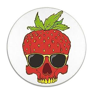 Feimao Strawberry Sunglasses Skull Anti-slip Round Chair Seat Cushion Pad Stool Slipcover 16 Inch