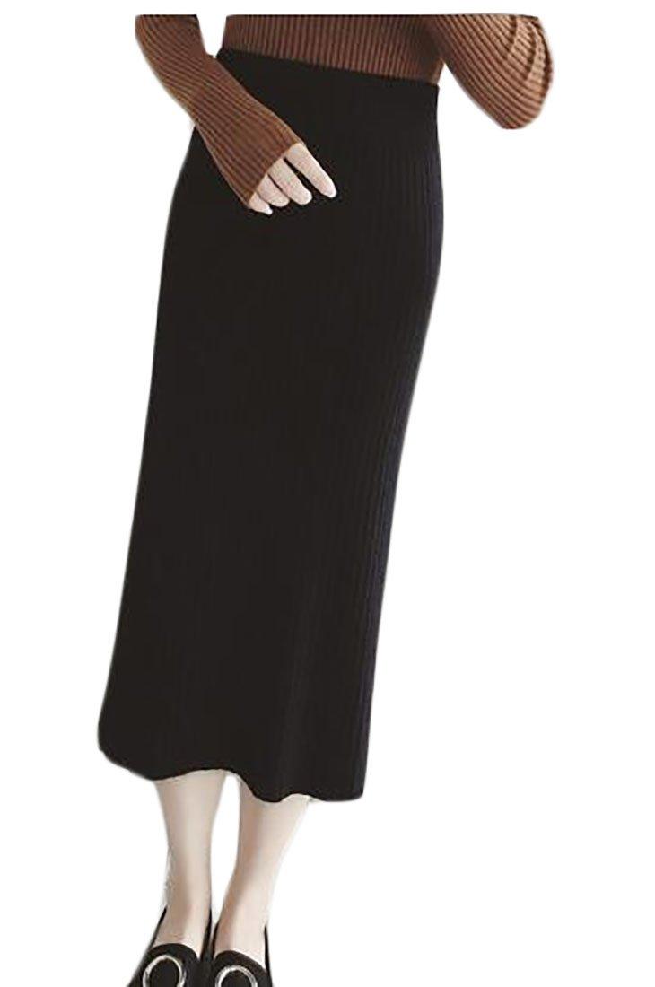 FLCH+YIGE SKIRT レディース B077259FGY One Size|ブラック ブラック One Size
