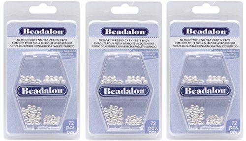 Beadalon Memory Wire End Cap, Variety Pack, 72-Piece (3 - Open Bead Wire Caps
